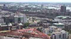 ULTRA HD 4K Panoramic Hamburg cityscape tourism attraction old port landmark day Stock Footage