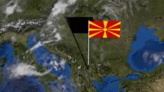 Macedonia flag on pole on earth globe animation Stock Footage