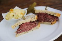 Sandwich with roast beef pastrami Stock Photos