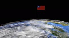 Myanmar flag on pole on earth globe animation Stock Footage