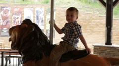 Boy on lion ride Zoo Stock Footage