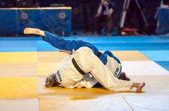 Girls compete in Judo - stock photo