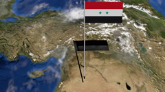 Syria flag on pole on earth globe animation Stock Footage