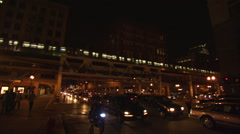 Night time traffic & transit train, Chicago (nat sound) Stock Footage