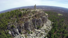 Stock Video Footage of Upstate NY - Mohonk Woods, fly out of Tower