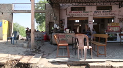 Patio with chairs and tables in front of chai shop in Jodhpur. Stock Footage