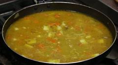 Steamed vegetables in sauce in the pan. Food Korean cuisine. - stock footage