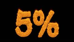 5 percent in flaming golden numerals Stock Footage