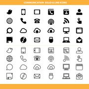 Communication solid and line icons set Stock Illustration