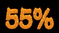 55 or fifty-five percent written with fire fonts - stock footage
