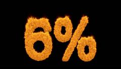 6 percent in fiery flaming golden numerals Stock Footage