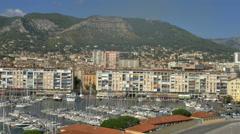 Marina, city, mountains. traffic Toulon France - high angle - 4K UHD 0810 Stock Footage
