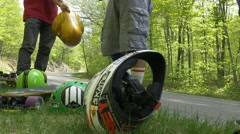 Close up of longboarder equipment and legs Stock Footage