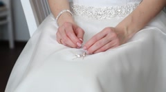 Wedding ring on bride's finger Stock Footage