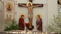 Statue of The crucified Jesus Christ-Without Crucifix - stock footage