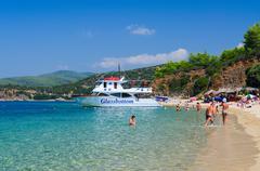 Pleasure boat at beach of Peninsula Sithonia, Greece Stock Photos