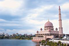 Stock Photo of Putra Mosque on dark sky located in Putrajaya city the new Federal Territory