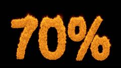 70 percent written with burning fonts with effect Stock Footage