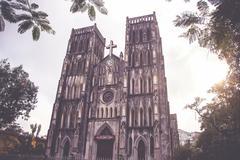 Saint Joseph Cathedral, Hanoi, Vietnam-vintage style Stock Photos