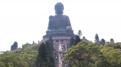 The Tian Tan Famous Big Buddha Statue Of Hong Kong (pan shot) Stock Footage