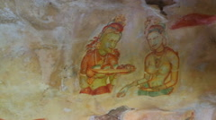 Frescoes at ancient rock fortress in Sri Lanka Stock Footage