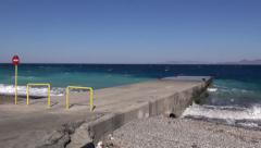 Pier on beautiful azure Aegean sea in Rhodes island, Greece Stock Footage