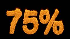 75 or seventy-five percent written with fire fonts - stock footage