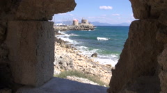 Rhodes old town port and  sea from castle fort window hole, Dodecanese, Greece Stock Footage