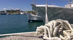 Rope and boats on Rhodes island port, Dodecanese,Greece Stock Footage