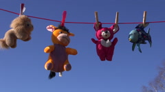Beautiful soft toys on clothes line and sky Stock Footage