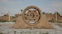 A window at Hisham's Palace early Islamic archaeological site Stock Footage