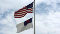 Flags of United States and Christian Stock Footage