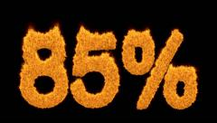 85 or eighty-five percent written with fire fonts - stock footage