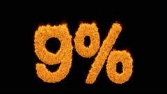 9 percent in fiery flaming turbulent gold numerals Stock Footage