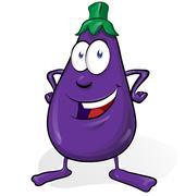 eggplant cartoon isolated on white background - stock illustration