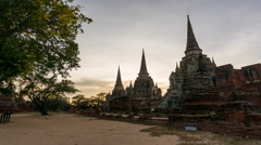 Day to night timelapse Wat Phra Si Sanphet Ancient Temple in Ayutthaya, thailand Stock Footage
