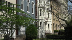 Washington DC Capitol Hill colorful Row Houses 4K 039 Stock Footage