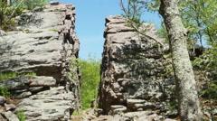3566 Split Rock Cliff Blue Sky Forest, 4K Stock Footage
