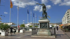 Tourists, Genius of Navigation statue Toulon France harbor - 4K UHD 0786 Stock Footage