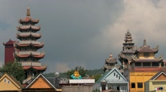 Vietnamese Village with Pagoda Stock Footage