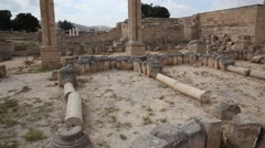 Hisham's Palace early Islamic archaeological site north of the town of Jericho Stock Footage