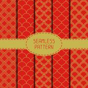 Stock Illustration of Set of geometric national chinese seamless pattern. Collection of wrapping paper