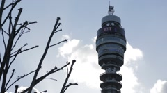 BT Tower, London with clouds Stock Footage