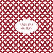 Red romantic wedding geometric seamless pattern with hearts. Wrapping paper - stock illustration