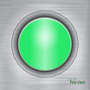 Green button on a metal background.Vector - stock illustration