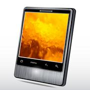 Mobile phone with a fantastic background on the screen. Vector Piirros