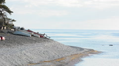 Eroded limestone coastline on the island of Gotland in Sweden springtime Stock Footage
