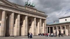 Tourists On Pariser Platz Near Brandenburg Gate Stock Footage