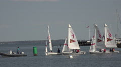 Annapolis Maryland Yacht Club sailboat youth training 4K 043 Stock Footage