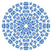 Round blue pattern on white background - stock illustration